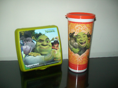 Tupperware Shrek Lunch Set Sandwich Keeper & Tumbler Cup Rare New in Package NLA