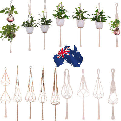 AU Pot Garden Holder Modern Plant Hanger Flower Legs Hanging Macrame Rope Basket
