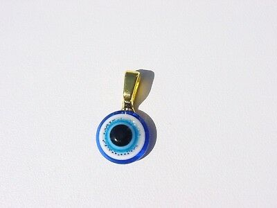 Italian Style Royal Blue Lucky Round Evil Eye Ancient Roman Greek Gold  Pendant