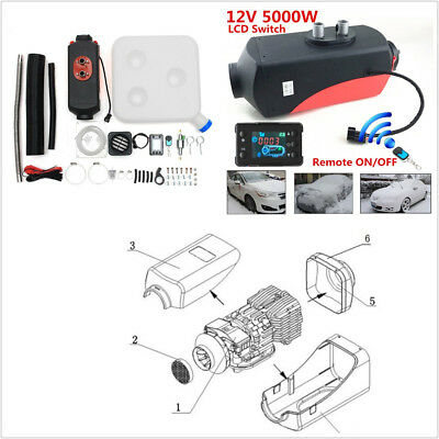 12V 5KW Car Off-Road LCD Monitor Air diesel Fuel Heater With Wireless Remote Kit