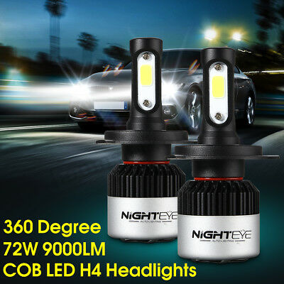 Nighteye H4 LED Headlight Light Bulbs Hi/Lo Beam Replace Halogen 72W 9000LM AU