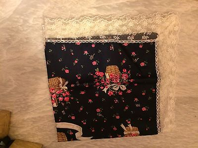 Lovely Nina Ricci Rose Basket Handkerchief With Lace Trim - New