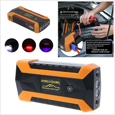 Portable 89800mAh 4USB Car Jump Starter Booster Charger Battery Power Bank & Box