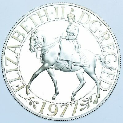 ELIZABETH II SILVER PROOF CROWN, 1977 BRITISH COIN IN A CAPSULE aFDC