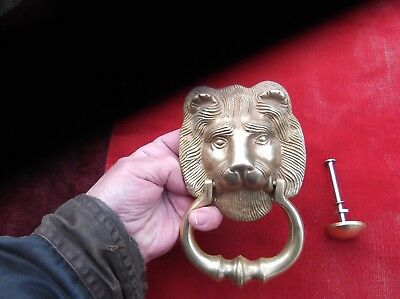Antique Heavy Brass Lion Door Knocker/english Lion Door Striker/superb Detail