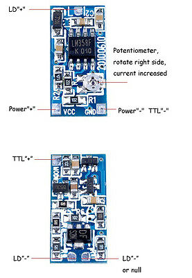 Adjustable current laser diode driver 80-500mA w/TTL blue board