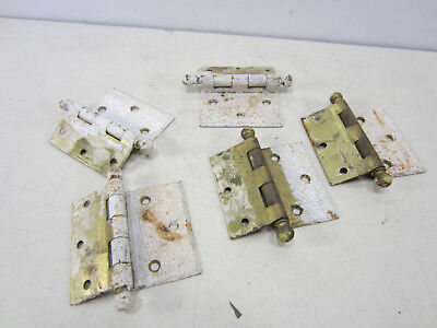 5 Vintage Steel Ball Top Offset Door Hinges - HI#11