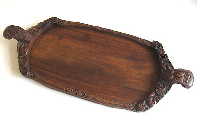 Antique Wooden SERVING TRAY (Hand-made/carved Wood with dovetailed handles)