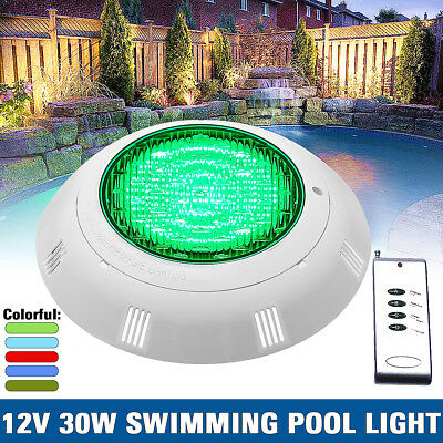 30W RGB 7-Color Swimming Pool Underwater Lamp Wall Mounted Light +Remote Control