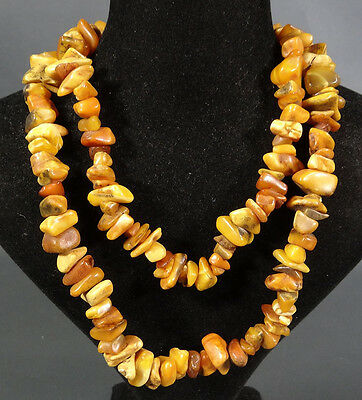Antique Natural Baltic Konigsberg Egg Yolk Butterscotch Amber Beads Necklace 60G