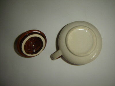 Vintage Ceramic Glazed Creamer Small Pitcher  3 Toned Two Piece Unmarked
