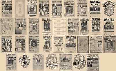 Lot Of 34 Harry Potter The Daily Prophet & Maps Flyer/Poster Prop/Replica Prints