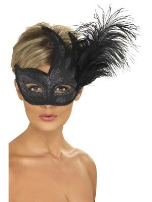 NEW Ornate Colombina Feather - Venetian Masquerade Mask Fancy Dress Accessory
