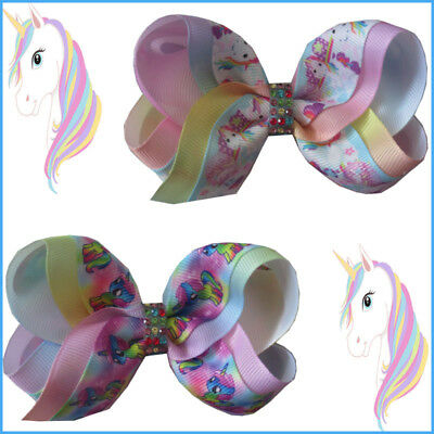 "50 BLESSING Girl 4"" Two Tone ABC Bow Clip Rainbow Unicorn Pony Hairbow Baby"