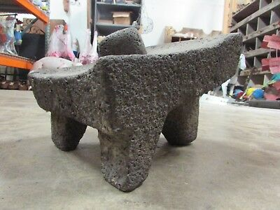 Antique Metate #7-Grinder-Rustic-Complete-Old Mexican--Primitive-13x10.5x10