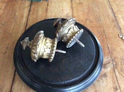 A Lovely Pair Antique Vintage French Brass Curtain Pole Finials Ends