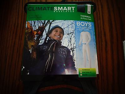 NWT Cuddl Duds Climate Smart Gray 2 Piece Thermal Long Underwear Boys M  8/10
