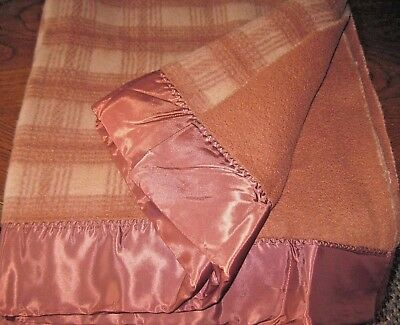 """Vintage Brown Plaid Soft Thick Extra Blanket Size 86"""" x 76"""" EXCELLENT Condition!"""