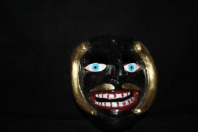 053 RARE DEMON MEXICAN WOODEN MASK demonio WALL DECOR arte Mexico madera folkart