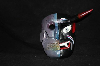 089 TWO FACES DEVIL-SKULL MEXICAN WOODEN MASK WALL DECOR diablo-calavera arte