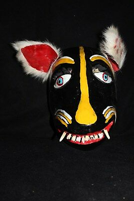 092 DOG MEXICAN WOODEN MASK WALL DECOR HANDCARVED crafted perro madera folk art