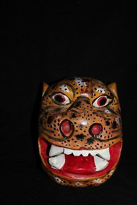 095 BIG TIGER MEXICAN WOODEN MASK tigre bolita artesania wall decor wild animal