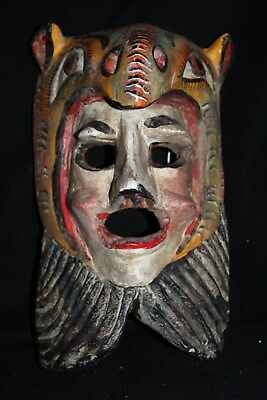 103 RARE FACE ANIMAL MEXICAN WOODEN MASK artesania zompantle wall decor home