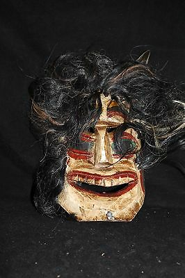 111 VOODOO HAIR MEXICAN WOODEN MASK vudu HANDMADE DECORATIVE FIGURE