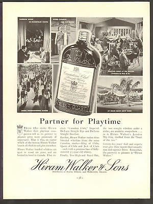 Hiram Walker APR 1935 CANADIAN CLUB Partner for Playtime Original Print Ad