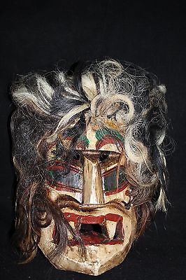 119 VOODOO HAIR MEXICAN WOODEN MASK vudu HANDMADE DECORATIVE GREÑITAS FIGURE