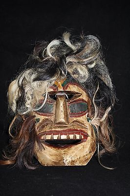 127 VOODOO HAIR MEXICAN WOODEN MASK vudu HANDMADE DECORATIVE FIGURE greñudo