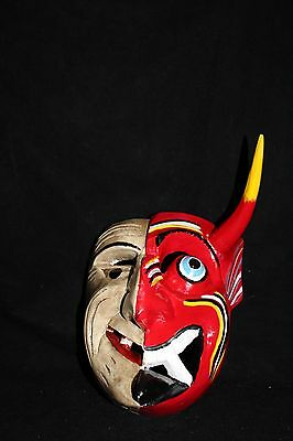 129 TWO FACES MEXICAN WOODEN MASK WALL DECOR folk art Mexico artesania