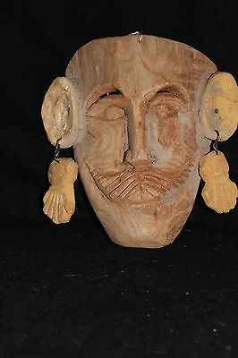 135 FACE RAW MEXICAN WOODEN MASK DECORATIVE wall decor mascara tallada mano