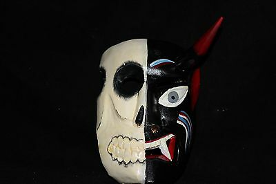 144 TWO FACES DEVIL-SKULL MEXICAN WOODEN MASK WALL DECOR diablo-calavera
