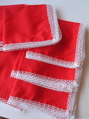 "Lot of 8 Handmade Bright Red Dinner Napkins white Lace Trim 13"" Square"