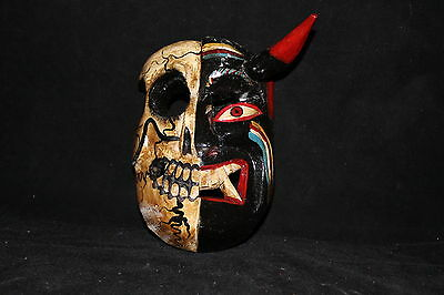 184 TWO FACES DEVIL-SKULL MEXICAN WOODEN MASK WALL DECOR diablo-calavera