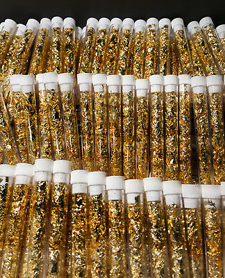 5 + 2 FREE BONUS 5mL Vials Of Premium Grade 24K Luster Gold Leaf Flake BIGGEST!