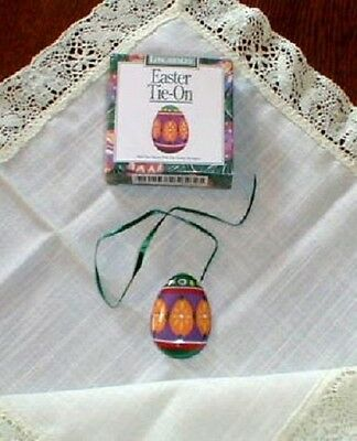 Longaberger  Easter Egg Green Purple Painted Basket Tie On New In Box Pottery