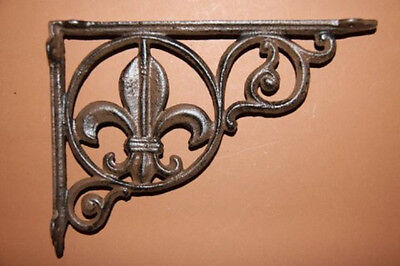 "(4) Saints Wall Decor, Cast Iron Shelf Brackets Fleur De Lis, 9"" Shelf Brace,b-3"