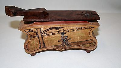 Signed Wayne Boblenz Scenic Carved Wood Turkey Box Call - Grandpa & The Boy