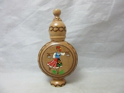 Vintage wooden mini bottle made in Bulgaria. Hand painted