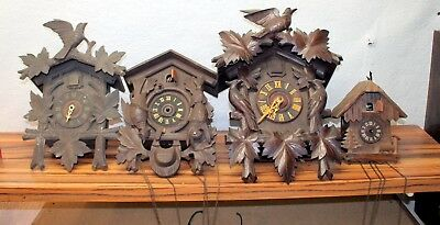 *4 Pieces old wall clock Cucko Clocks* TO BE RESTORED*