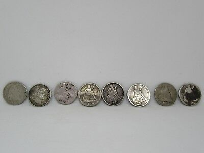 Lot of 8 Silver Cull Seated Liberty and Barber Dimes Coin Set