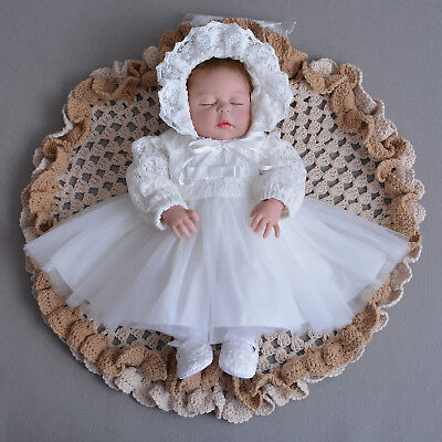 Lace Christening Long Sleeve Party Dress with Bonnet White Ivory 0-3 to 18-24 M