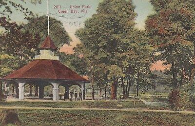 Green Bay Wi 1910 Used Postcard Union Park Pavilion And People Great Unusual Pc