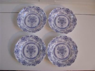 Arcopal Honorine Scalloped Soup Bowls, Blue Floral Made In France set of 4