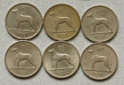 IRELAND Sixpence 1928,1958,1959,1960,1962,1963 - Lot of 6 Coins, No Reserve!