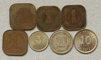 MAYLASIA 1,5,10 Cents 1920-1961 - Lot of 7 British Colonial Coins, No Res.!