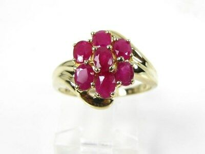 Estate 14k Yellow Gold Natural Ruby Cluster Ladies Ring 3.2g