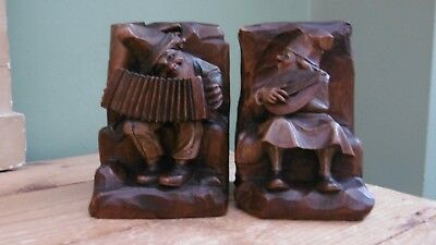 SUPERB Pr 19thc BLACK FOREST OAK CARVED BOOKENDS WITH MALE MUSICIAN FIGURES